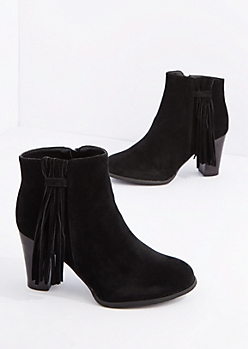 Black Side Fringe Tassel Heeled Bootie By Qupid