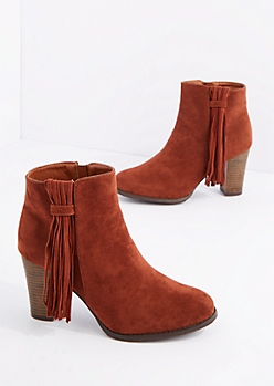 Cognac Side Fringe Tassel Heeled Bootie By Qupid