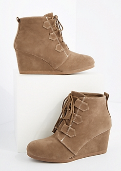 Taupe Lace Up Wedged Booties By Qupid