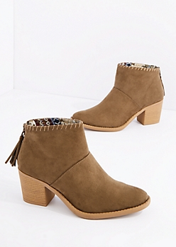 Khaki Faux Suede Heeled Bootie By Qupid