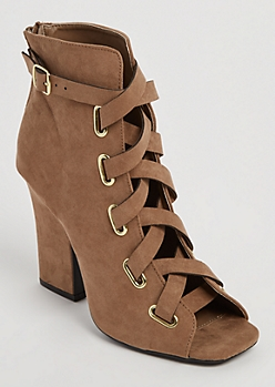 Taupe Cross Strap Peep Toe Bootie By Qupid