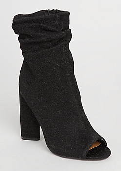 Black Metallic Slouch Peep Toe Bootie by Qupid
