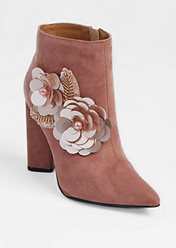 Pink Faux Suede Floral Embellished Booties