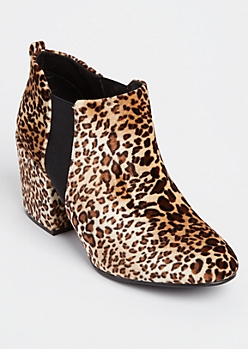 Leopard Double Gore Booties By Qupid