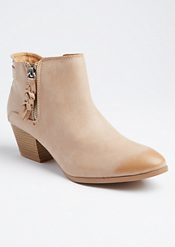 Taupe Braided Tassel Booties By Qupid