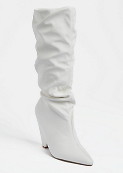 White Cone Heel Scrunched Boots
