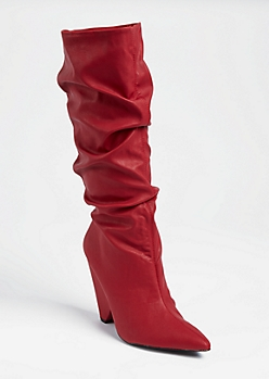 Red Cone Heel Scrunched Boots