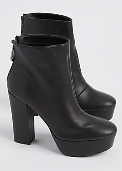 Black Faux Leather Platform Bootie By Qupid