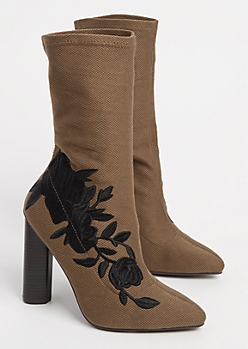 Khaki Embroidered Black Rose Sock Bootie By Qupid