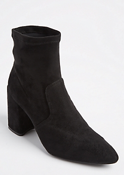 Black Pointed Toe Faux Suede Bootie by Qupid