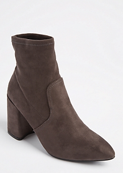 Charcoal Gray Pointed Toe Faux Suede Bootie by Qupid