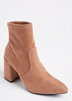 Pink Pointed Toe Faux Suede Bootie by Qupid