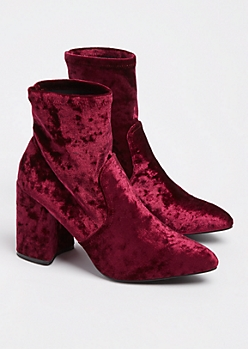 Burgundy Pointed Toe Bootie By Qupid