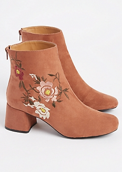 Brown Embroidered Faux Suede Bootie By Qupid