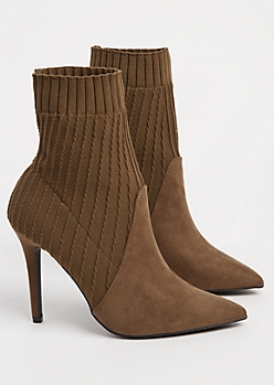 Khaki Cable Knit Stiletto Bootie By Qupid