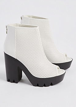 White Perforated Peep Toe Platform Bootie By Qupid