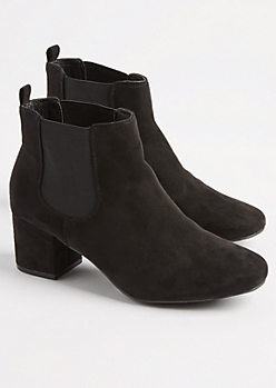 Black Faux Suede Double Gore Bootie By Qupid