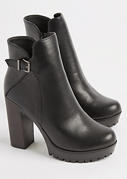 Black Faux Leather Buckled Bootie By Qupid