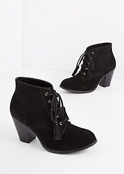 Black Lace Up Stitched Mock Suede Bootie
