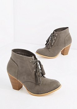 Gray Lace Up Stitched Mock Suede Bootie