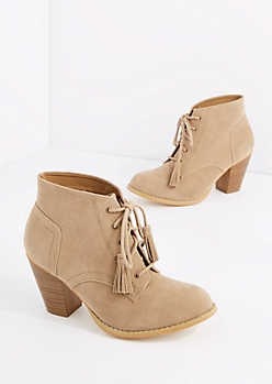 Tan Lace Up Stitched Mock Suede Bootie