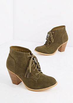 Olive Lace Up Stitched Mock Suede Bootie