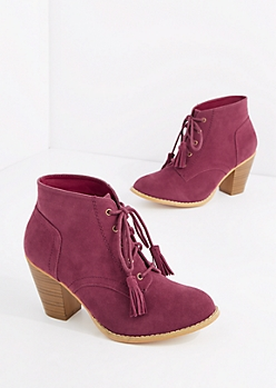 Burgundy Lace Up Stitched Mock Suede Bootie