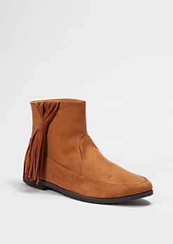 Cognac Knotted Fringe Bootie