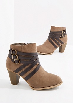 Taupe Buckled Stacked Heel Bootie