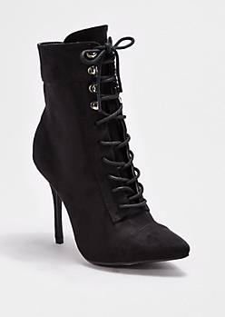 Black Lace-Up Heeled Bootie By Wild Diva®