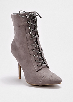 Gray Lace-Up Heeled Bootie By Wild Diva®