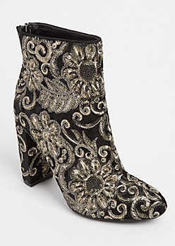 Metallic Embroidered Bootie By Wild Diva