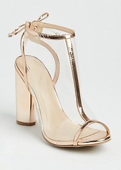 Rose Gold Trimmed Clear Heel By Wild Diva