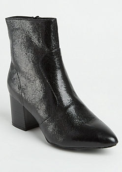 Black Crackled Gloss Pointed Toe Bootie By Wild Diva