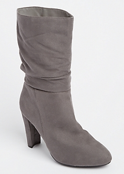 Gray Slouch Booties By Wild Diva