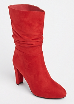 Red Slouch Bootie By Wild Diva