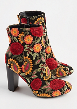 Embroidered Floral Bootie By Wild Diva