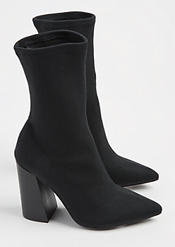 Black Sock Heeled Bootie