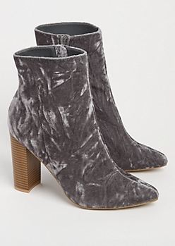Gray Crushed Velvet Heeled Bootie