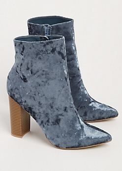 Blue Crushed Velvet Heeled Bootie