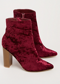 Burgundy Crushed Velvet Heeled Bootie