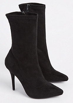 Black Faux Suede Stiletto Bootie By Wild Diva
