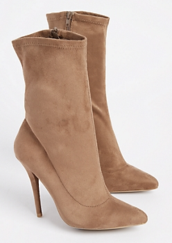 Taupe Faux Suede Stiletto Bootie By Wild Diva