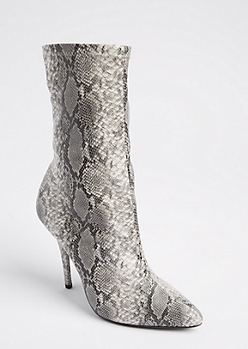 Faux Snake Skin Bootie By Wild Diva