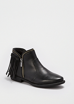 Black Knotted Fringe Bootie By Qupid®