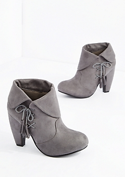 Gray Laced Tassel Heeled Bootie