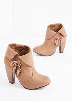 Taupe Laced Tassel Heeled Bootie