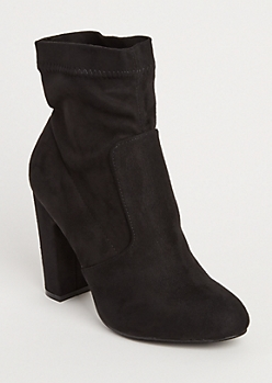 Black Faux Suede Heeled Bootie By Yoki