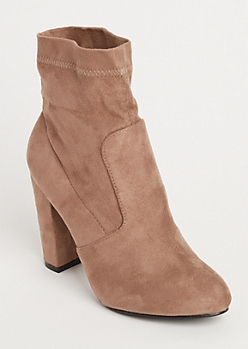 Cream Faux Suede Heeled Booties