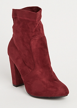 Burgundy Faux Suede Heeled Bootie By Yoki